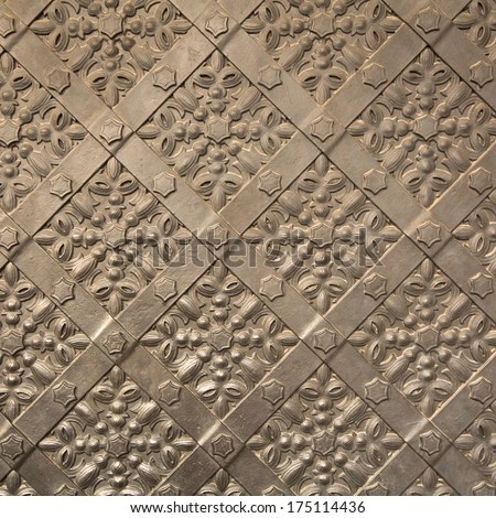 Old iron door texture in Royal Wawel Castle, Poland. - stock photo