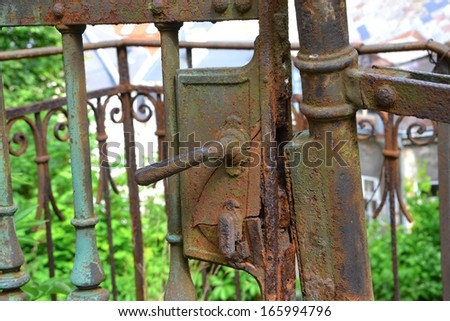 old iron gate in the old town of Karlovy Vary in the Czech Republic