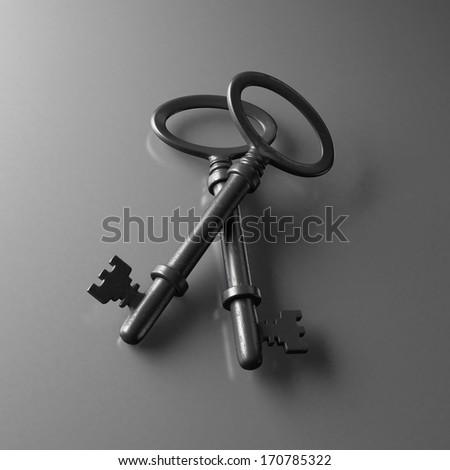 Old iron keys on gray background - stock photo
