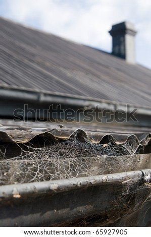 Old Iron roof top with web covered gutters - stock photo