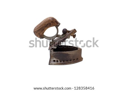 Old irons isolated on white background