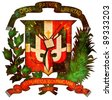 old isolated over white coat of arms of dominican republic - stock photo