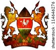 old isolated over white coat of arms of kenya - stock photo