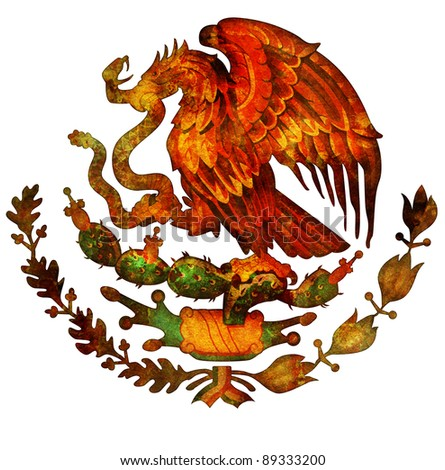 old isolated over white coat of arms of mexico - stock photo