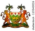 old isolated over white coat of arms of sierra leone - stock photo