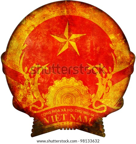 old isolated over white coat of arms of vietnam - stock photo