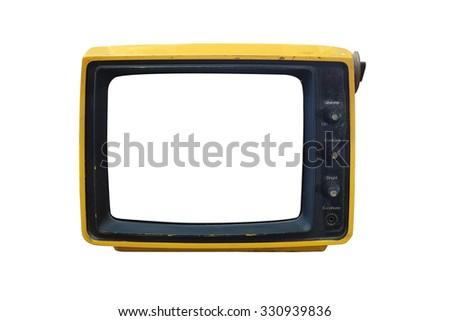 old isolated TV on white background - stock photo