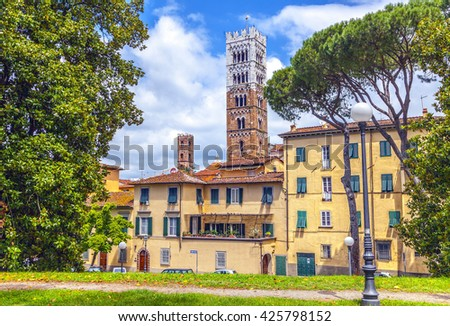 Old Italian town of Lucca. View from fortress wall. - stock photo
