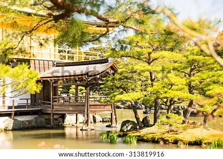 Old Japanese golden castle, Kinkakuji Temple (The Golden Pavilion),Kyoto, Japan - stock photo