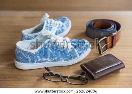 old jean sneaker vintage style - stock photo