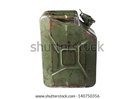 old jerrycan isolated on white background - stock photo