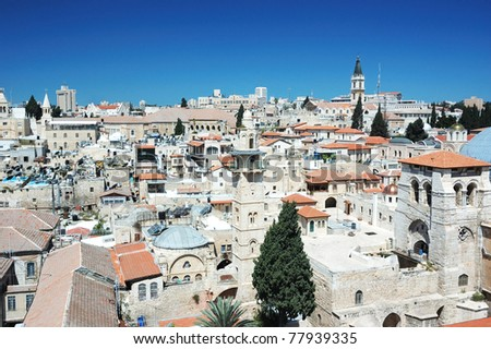Old Jerusalem view from the Lutheran Redeemer 's church tower - stock photo