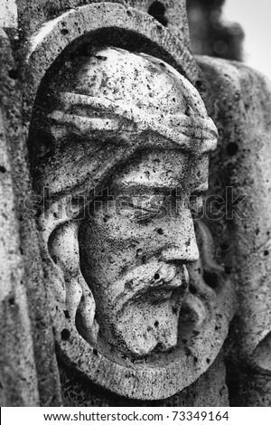 Old Jesus relief - stock photo