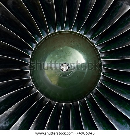 Old jet engine detail - stock photo