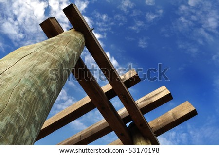 Old Jetty Sculpture - stock photo
