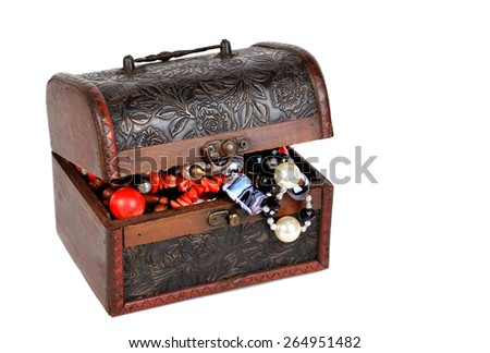 Old jewelry chest isolated on the white background.   - stock photo