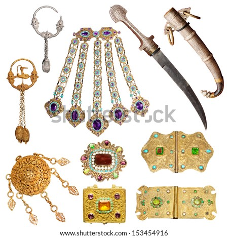 old jewelry set  - stock photo