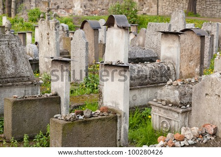 Old Jewish cemetery is located beside the Remuh Synagogue at 40 Szeroka Street in the historic Kazimierz district - stock photo