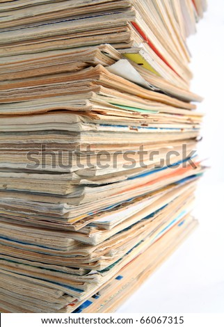 old journals on white background - stock photo