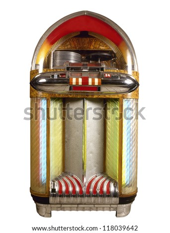 Old jukebox music player isolated on white background