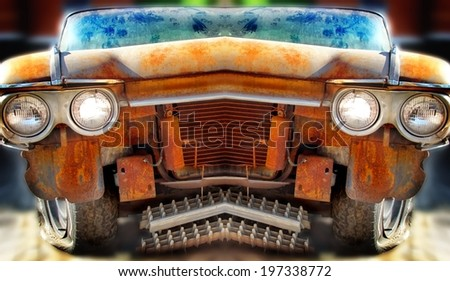Old Junk Car. Tilt-Shift and mirror effects. - stock photo