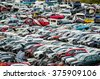 Old Junk Cars On Junkyard - stock photo