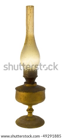old kerosene lamp in the dust and cobwebs isolated - stock photo