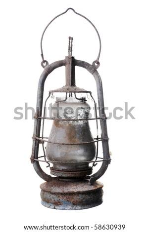 Old kerosene lamp. Isolated on white background - stock photo