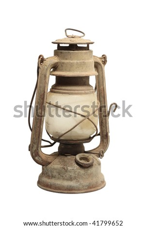 Old kerosene lamp isolated over white background - stock photo
