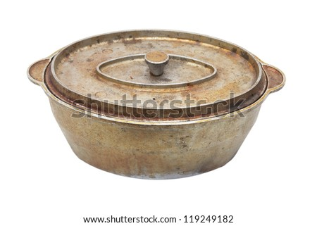 old kettle on a white background - stock photo