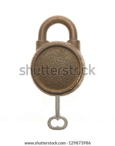 Old key and key against white background. - stock photo