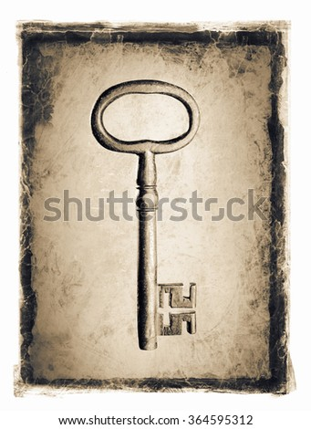 Old key ion a grunge distressed frame. - stock photo