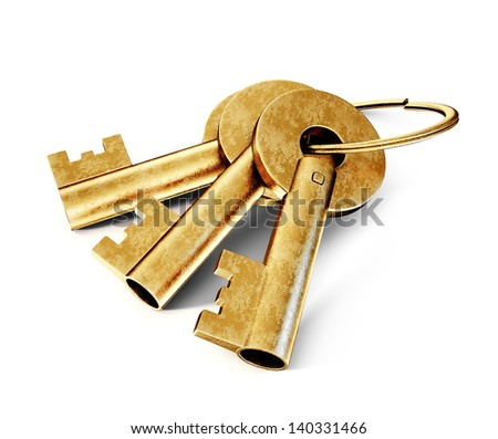 old key isolated on a white background - stock photo