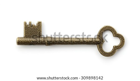 Old Key on white background