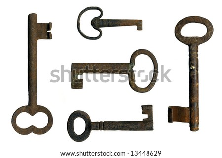 old keys on a white background - stock photo