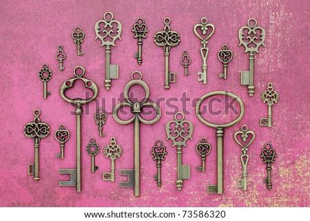 Old keys on vintage paper - stock photo