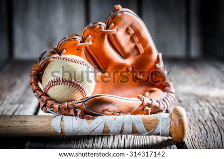 Old Kit to play baseball - stock photo