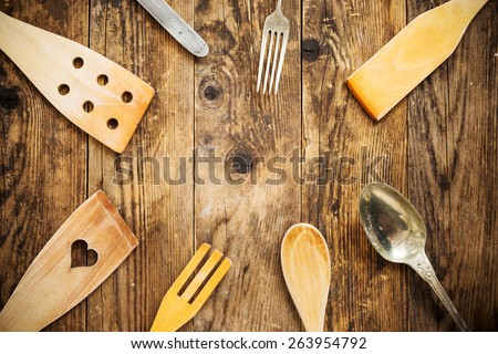 Old kitchen appliances, wood table. - stock photo