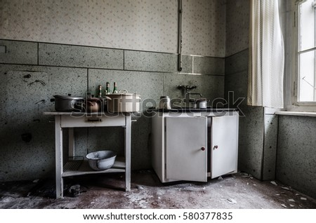 Old Kitchen Facility In Abandoned House