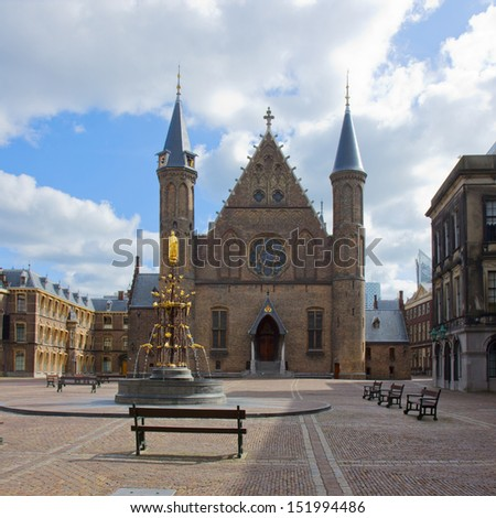 old knight hall Ridderzaal, the Hague, Netherlands - stock photo