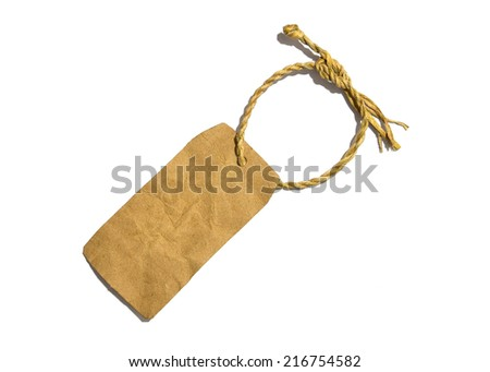 old label tag with string, isolated on the white background. - stock photo