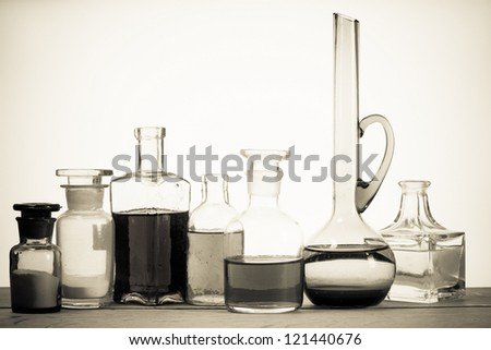 Old laboratory glass - stock photo