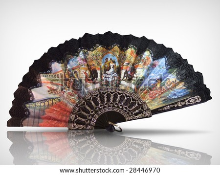 Old lace fan, work path included - stock photo
