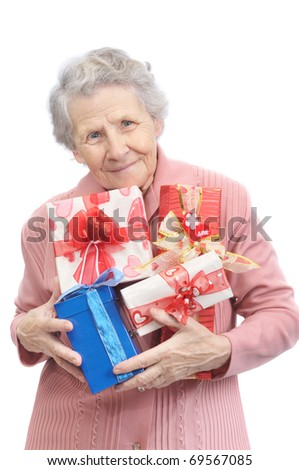 old lady and boxes with gifts on white background