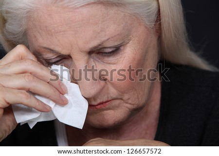 Old lady crying
