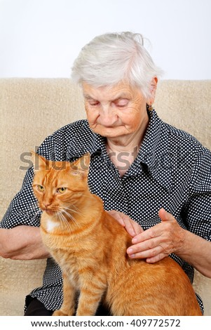 Old lady petting her beautiful cat - stock photo