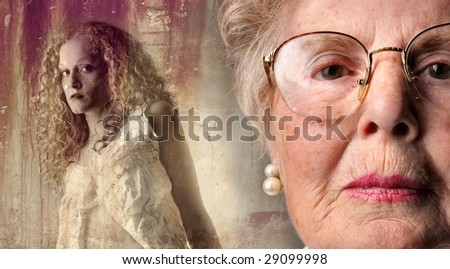 old lady portrait and a vintage picture of a young girl - stock photo