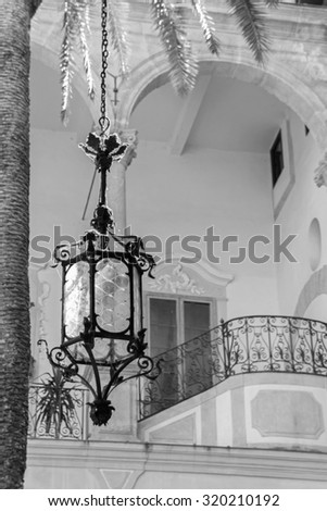 Old lamp, black and white picture