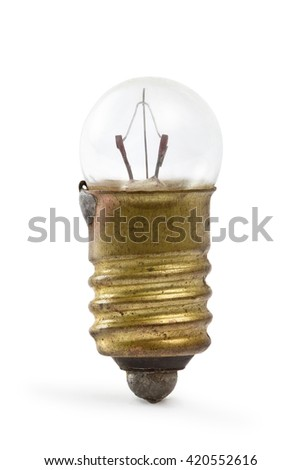 old lamp for flashlight isolated on white background - stock photo