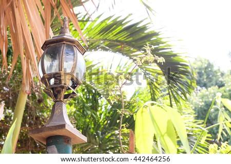 Old Lamp Post Street Road Light Pole. - stock photo